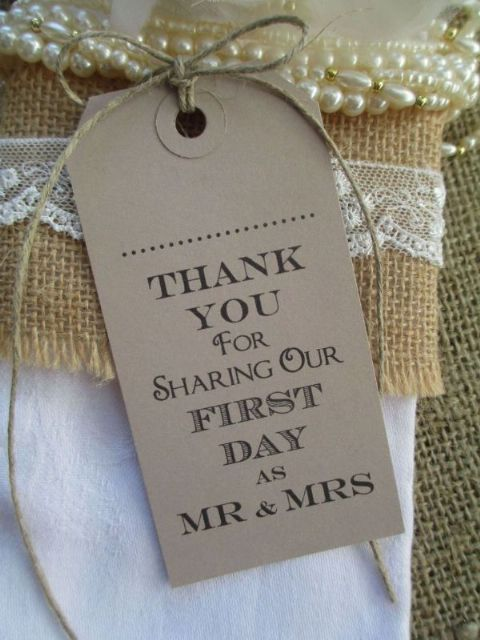 10 Thank You for Sharing Our First Day Name Place Cards Napkin Ties